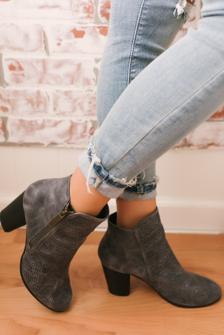 Some Nights Distressed Perforated Booties - Grey