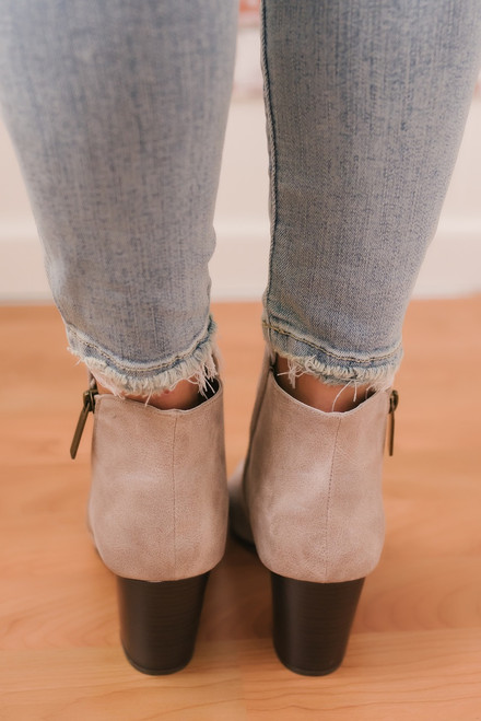 Some Nights Distressed Perforated Booties - Taupe - FINAL SALE