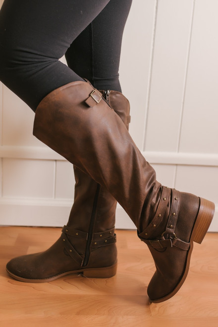 Augusta Studded Buckle Tall Boots - Brown