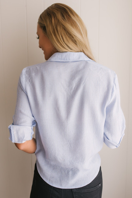 Button Down Striped Knot Top - Blue/White