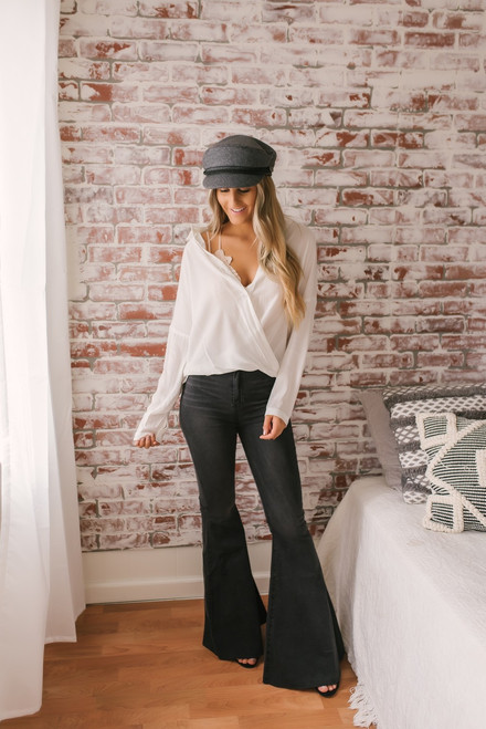 Button Down Twisted Hem Top - White - FINAL SALE