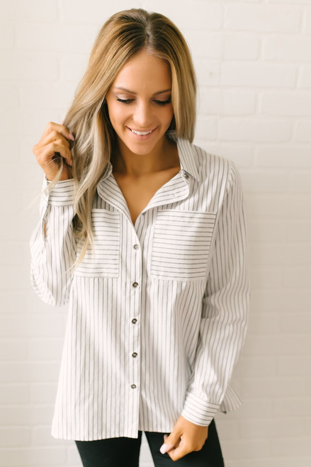 Irena Button Down Striped Pocket Top - White/Grey