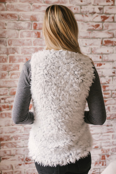 Lake Placid Two Tone Faux Fur Vest - Grey/Charcoal