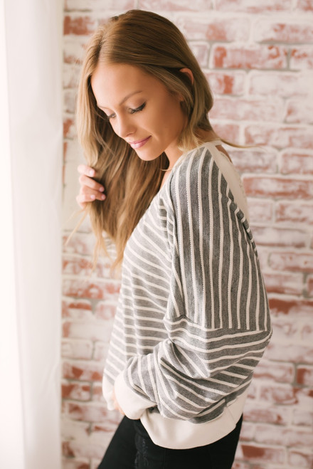 Avery Open Back Striped Sweatshirt - Black/Natural