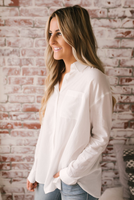Business Casual Button Down Pocket Top - White