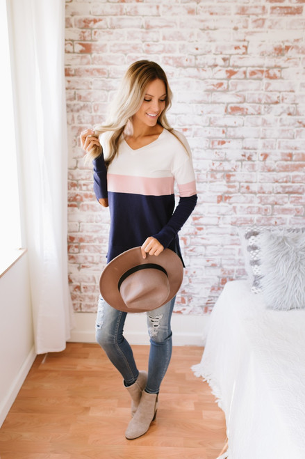 Montana Sky V-Neck Colorblock Sweater - White/Pink/Navy