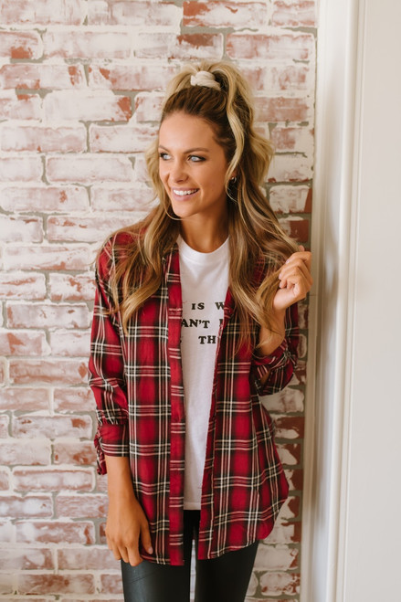 Alanis Button Down Plaid Tunic - Red Multi  - FINAL SALE