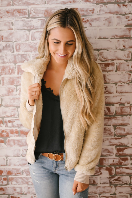 Soft Hooded Zip Up Jacket - Vanilla Cream