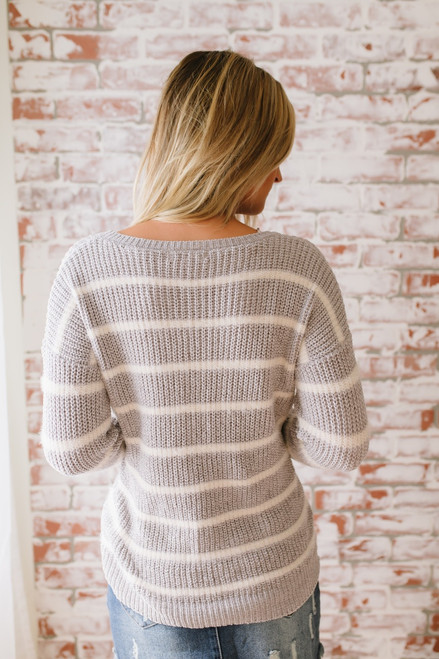 Grand Summit Striped Chenille Sweater - Grey/Ivory
