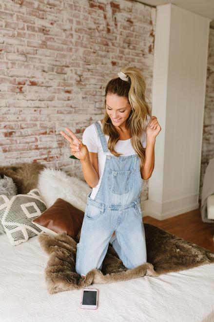 Distressed Denim Girlfriend Overalls - Light Wash  - FINAL SALE