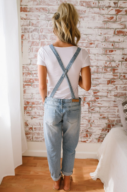 Distressed Denim Girlfriend Overalls - Light Wash