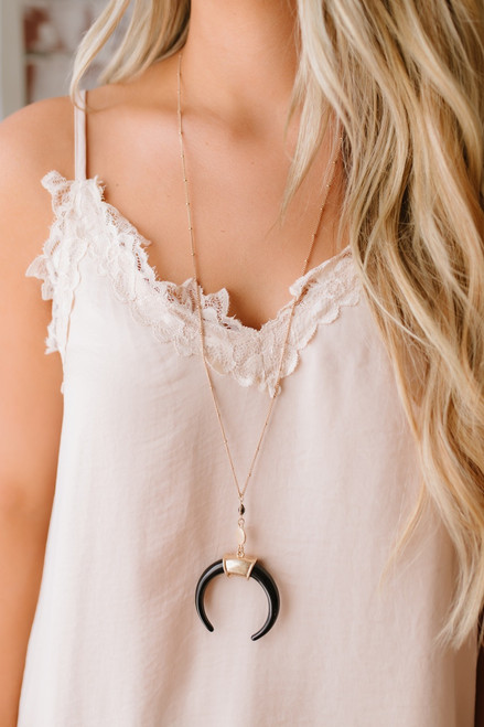 Carolina Moon Crescent Pendant Necklace - Black/Gold - FINAL SALE