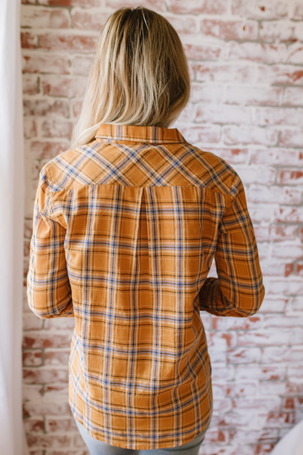 Autumn Harvest Button Down Plaid Top - Mustard Multi