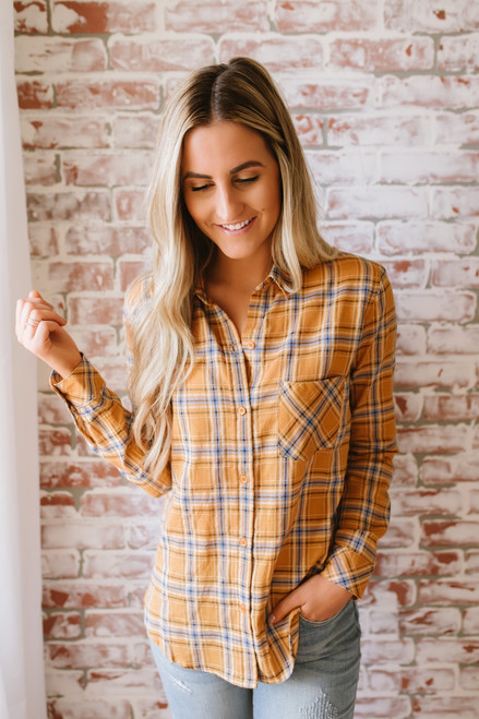 Autumn Harvest Button Down Plaid Top - Mustard Multi  - FINAL SALE