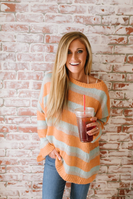 Sunshine State of Mind Colorblock Sweater - Orange Multi  - FINAL SALE