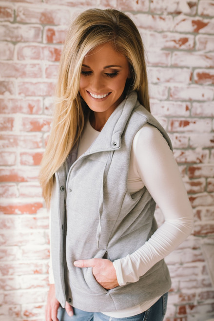 Fall Traditions Quilted Vest - Heather Grey