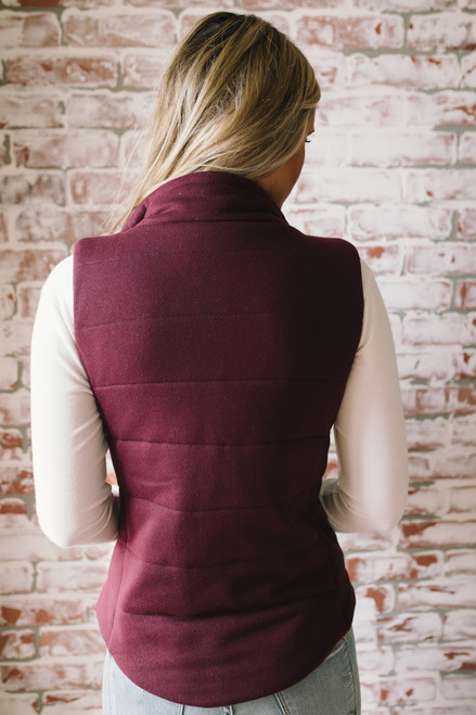 Fall Traditions Quilted Vest - Burgundy