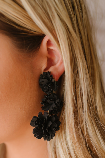 About Time Floral Statement Earrings - Black  - FINAL SALE