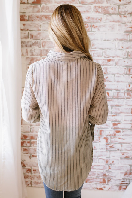 Dip Dye Button Down Striped Top - Taupe/Olive