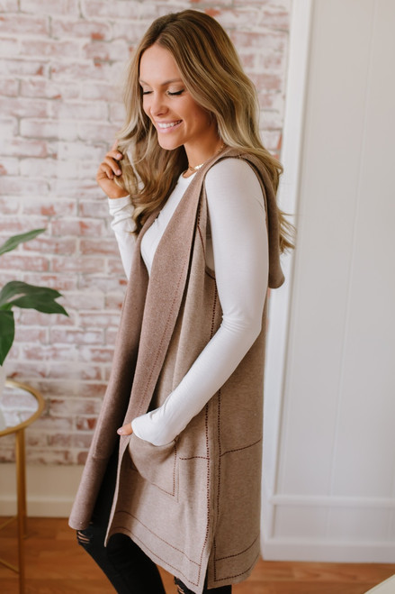 Contrast Stitch Hooded Pocket Vest - Mocha