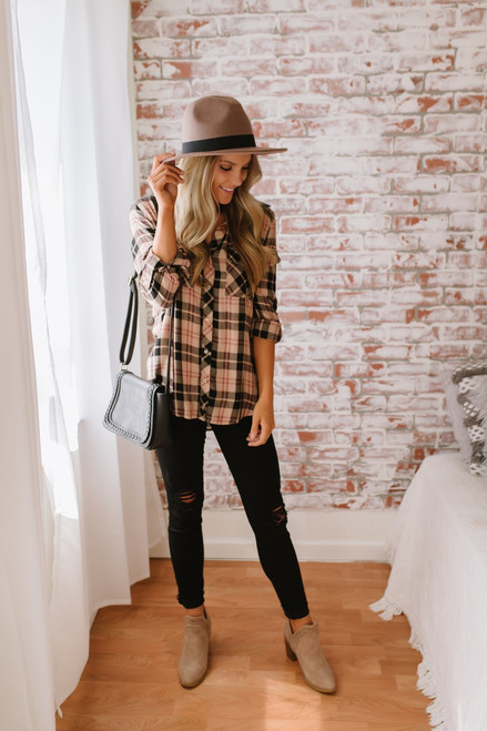 Autumn Woods Button Down Plaid Top - Taupe Multi