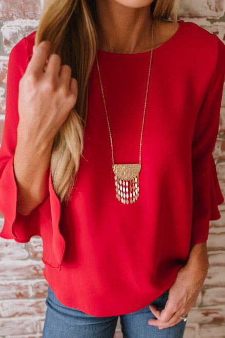 Inca Princess Pendant Necklace - Gold  - FINAL SALE