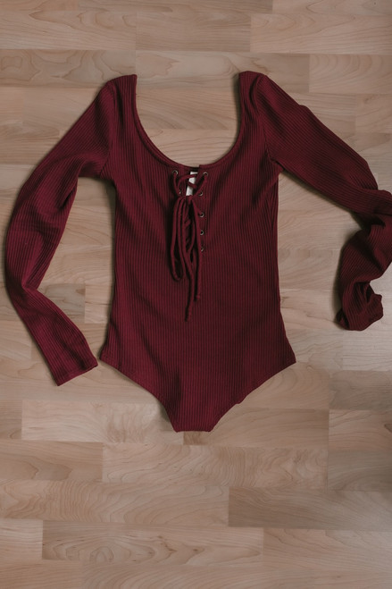 Lace Up Ribbed Knit Bodysuit - Burgundy - FINAL SALE