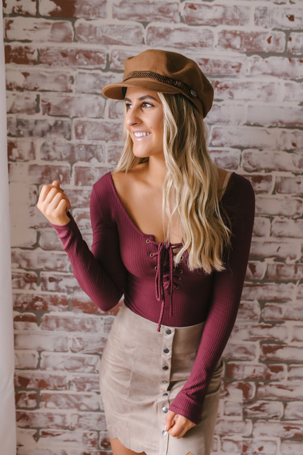 Lace Up Ribbed Knit Bodysuit - Burgundy