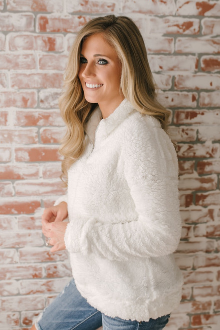 Gracie Cozy Half Zip Pullover - Ivory  - FINAL SALE