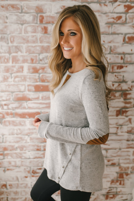 Soft Brushed Button Detail Top - Heather Grey