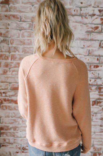 Peachy Graphic Sweatshirt - Heather Peach