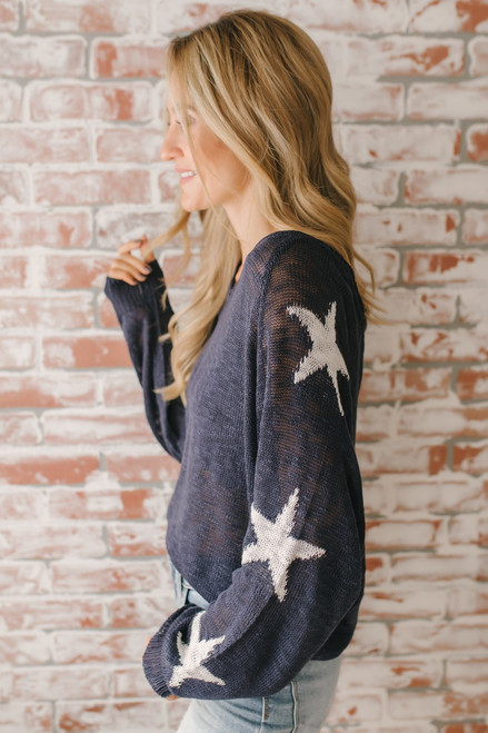 Kiss Under the Stars Sweater - Navy/White