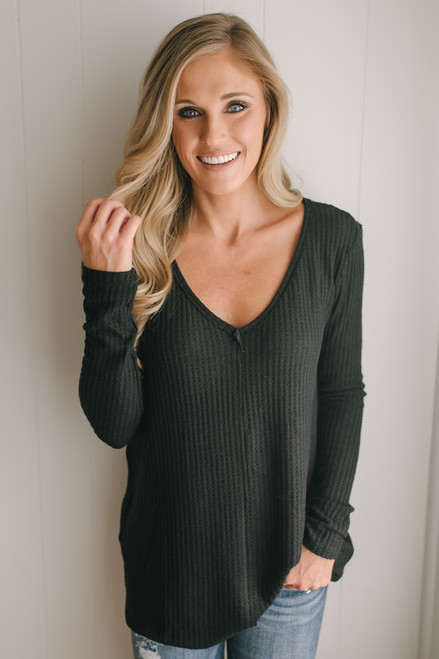Only Exception Thermal Seam Detail Top - Black
