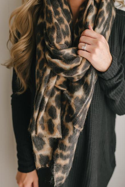 Echoes Tonight Leopard Scarf - Tan Multi