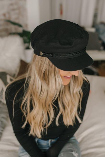 Brixton Top Down Lieutenant Hat - Black