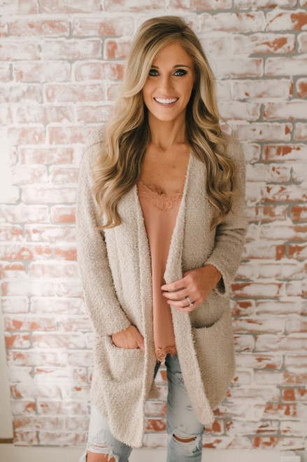 Coffee & Cuddles Soft Pocket Cardigan - Light Taupe