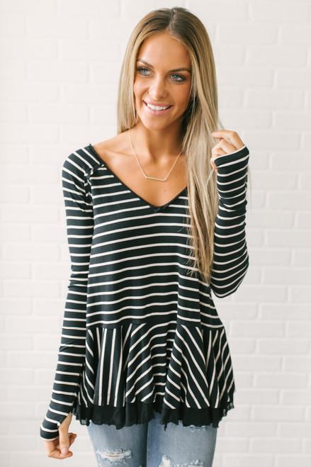 Free People Tangerine Long Sleeve Stripe Tee - Black/White