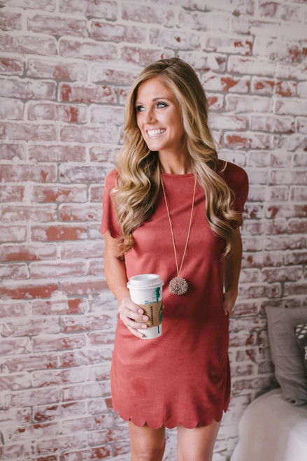 Reese Faux Suede Scalloped Dress - Rust  - FINAL SALE