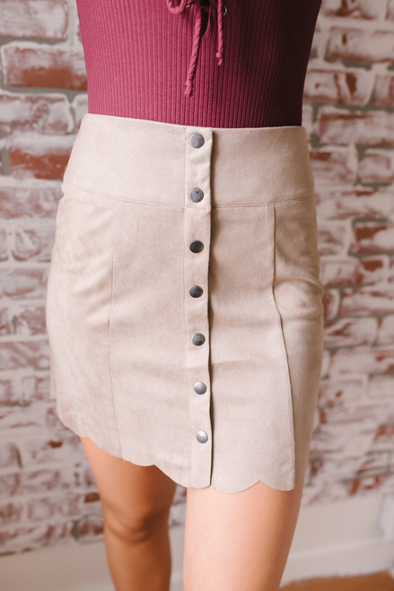 Faux Suede Button Down Scalloped Skirt - Taupe - FINAL SALE