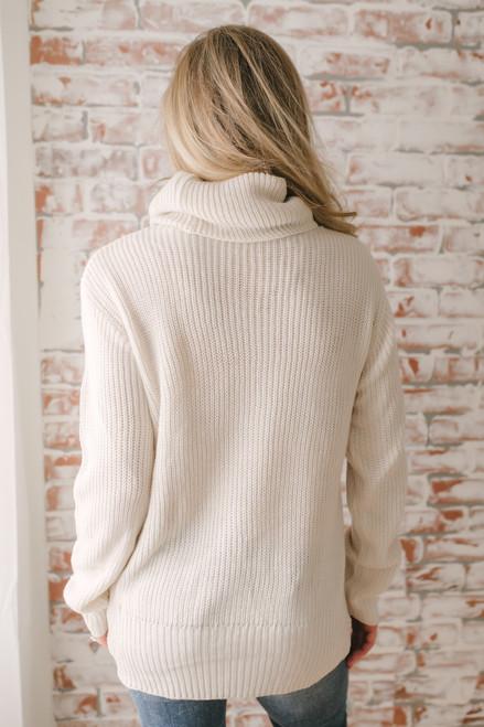 Swiss Alps Cowl Neck Knot Sweater - Beige