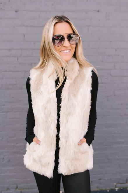 Jack by BB Dakota Fur What Faux Fur Vest - Ivory