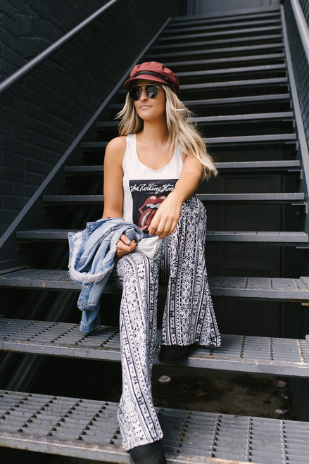 Free Bird Printed Flare Pants - Black/White