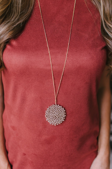 Beaded Starburst Pendant Necklace - Grey