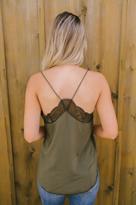 Kiss at Twilight Lace Tank - Olive