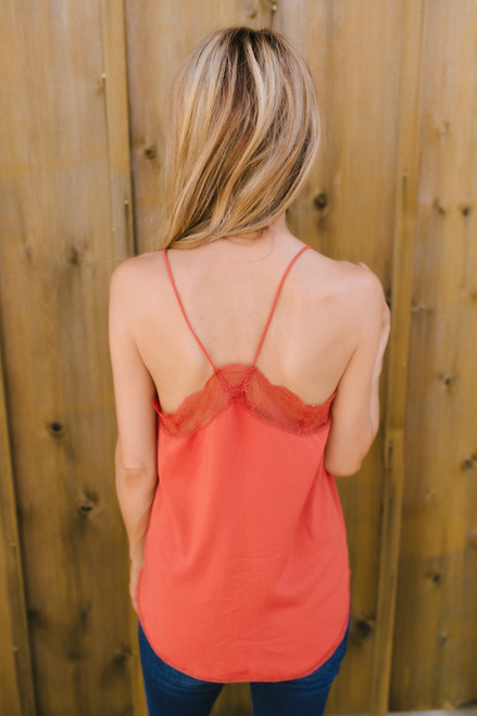 Kiss at Twilight Lace Tank - Rust