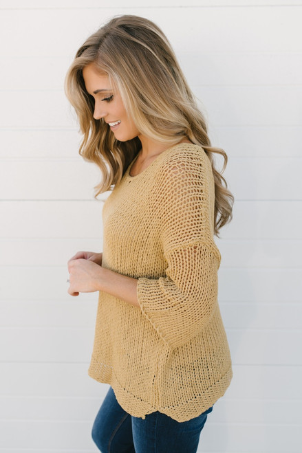Just My Type Open Knit Sweater - Mustard