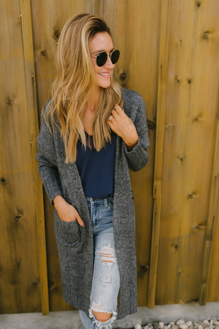 Into the Wilderness Pocket Cardigan - Charcoal