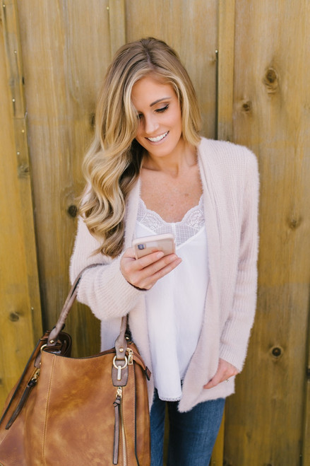 Dream a Little Dream Cozy Pocket Cardigan - Blush