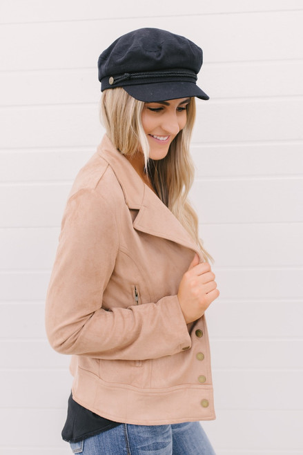 Maeve Button Down Faux Suede Jacket - Taupe  - FINAL SALE