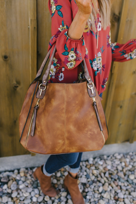 Italian Countryside Distressed Handbag - Brown